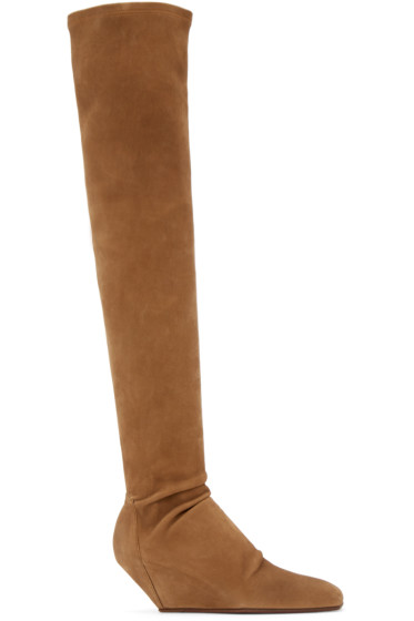 Rick Owens - Brown Suede Stretch Boots