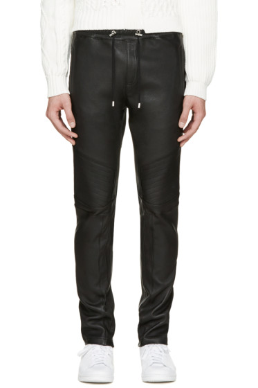 Balmain - Black Leather Biker Lounge Pants