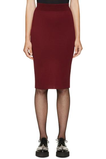 Alexander McQueen - Burgundy Fitted Knit Skirt