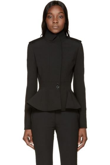 Alexander McQueen - Black Wool Peplum Jacket