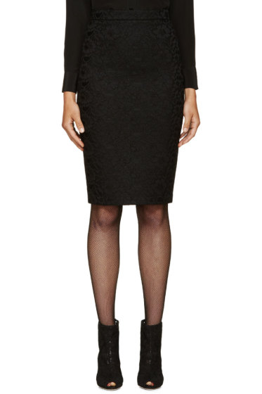 Givenchy - Black Net & Lace Pencil Skirt