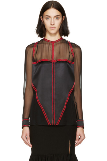 Givenchy - Black & Red Chiffon Blouse