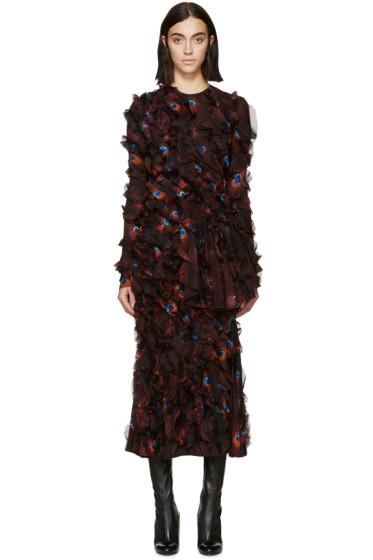 Givenchy - Multicolor Chiffon Printed Peacock Dress