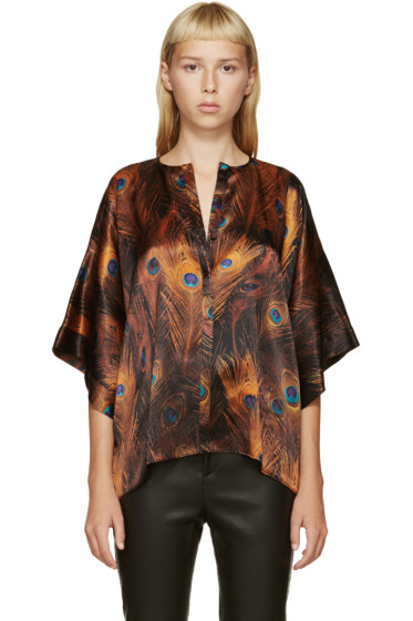 Givenchy - Orange & Blue Satin Peacock Blouse