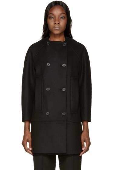 Proenza Schouler - Black Double-Breasted Collarless Coat
