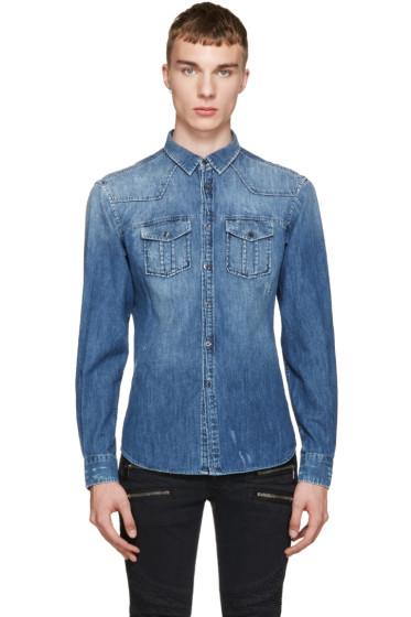 Pierre Balmain - Blue Distressed Denim Shirt