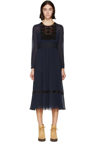 Burberry Prorsum - Navy Silk & Lace Dress