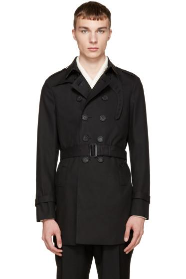 Burberry Prorsum - Black Camo Collar Trench Coat