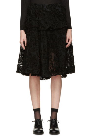 Simone Rocha - Black Embroidered Tulle Skirt