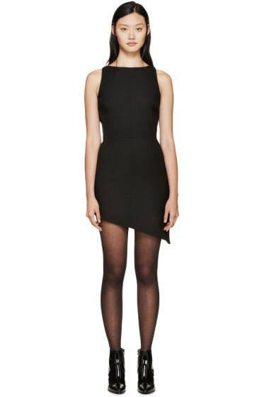 Saint Laurent - Black Boatneck Asymetrical Wool Dress