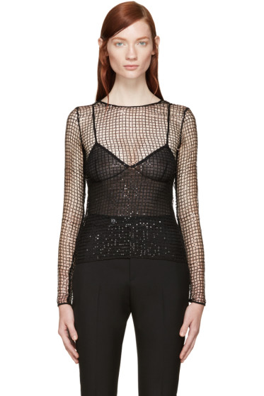 Saint Laurent - Black Sequined Mesh Top