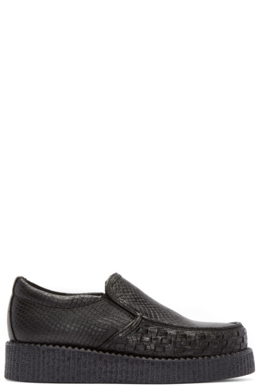 Underground - Black Snakeskin Creeper Loafers