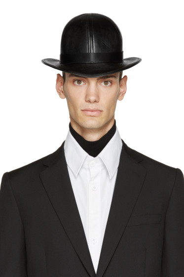 KTZ - Black Faux-Leather Short Bowler Hat