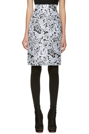 Mary Katrantzou - Black & Blue Lace Pencil Skirt