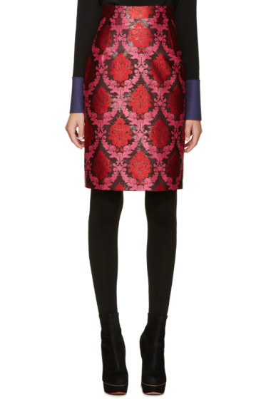 Mary Katrantzou - Pink & Red Lurex Pencil Skirt