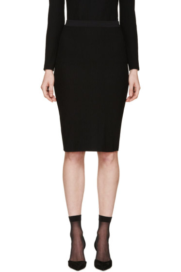 Nina Ricci - Black Ribbed Knit Skirt