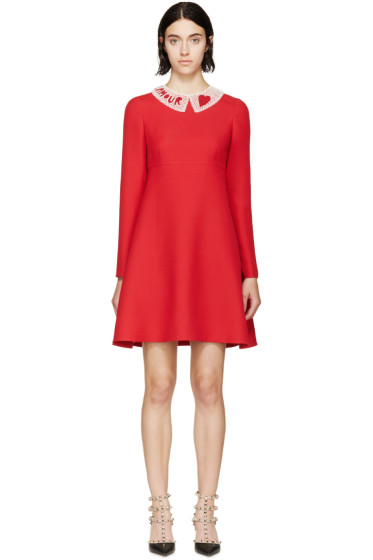 Valentino - Red Beaded Collar Dress