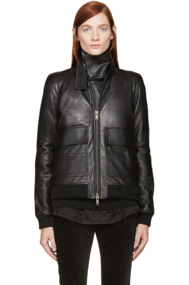 Haider Ackermann - Black Leather Inset Scarf Jacket