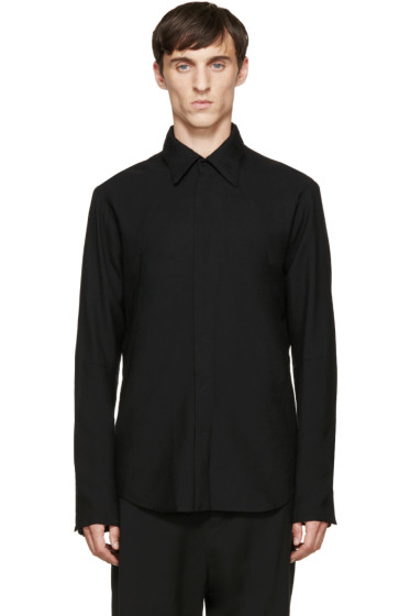 Nude:mm - Black Wool Panelled Shirt