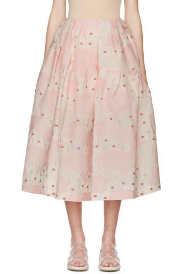 Simone Rocha - Pink Floral Cloqué Skirt