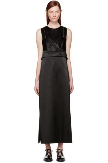 Calvin Klein Collection - Black Satin Topstitched Gabiola Dress