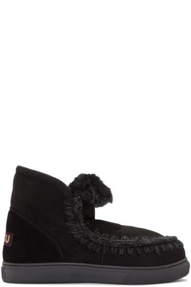 Mou - Black Mini Eskimo Boots