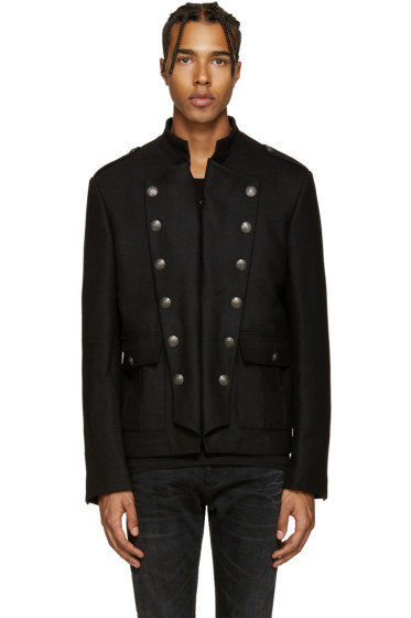 Pierre Balmain - Black Wool Military Jacket