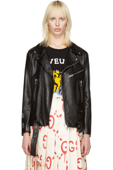 Gucci - Black Leather Hand-Painted Biker Jacket