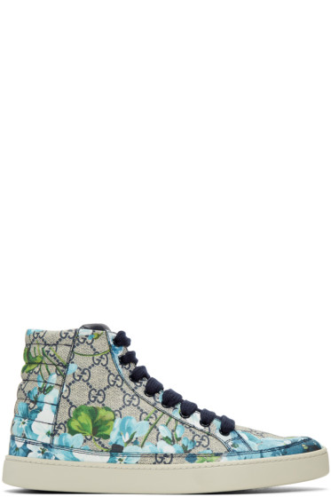 Gucci - Beige & Navy GG Supreme Floral High-Top Sneakers