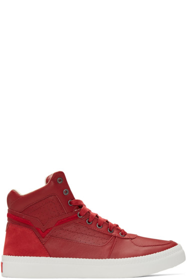 Diesel - Red S-Spaark Mid-Top Sneakers