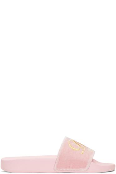Dolce & Gabbana - Pink Luxury Hotel Velvet Slide Sandals