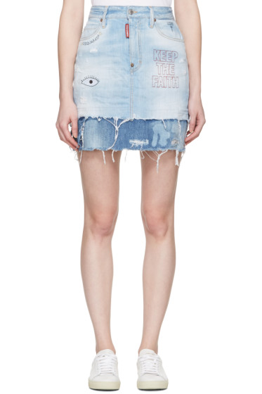 Dsquared2 - Blue Denim Embroidery Miniskirt