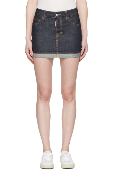 Dsquared2 - Blue Denim Glam Head Miniskirt
