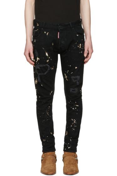Dsquared2 - Black Tidy Biker Acid Wash Jeans