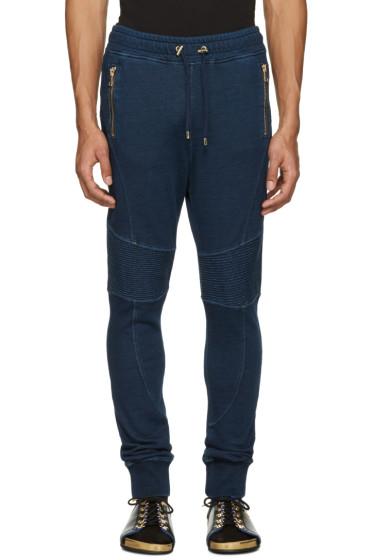 Balmain - Blue Panelled Zip Lounge Pants