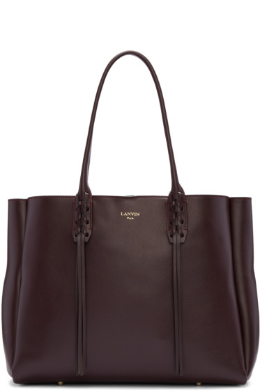 Lanvin - Burgundy Leather Small Shopper Bag