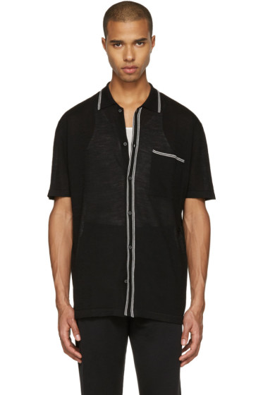 Lanvin - Black Wool Stripe Polo