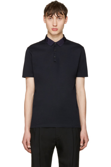 Lanvin - Navy Grosgrain Collar Polo