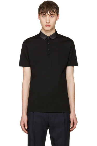 Lanvin - Black Grosgrain Collar Polo
