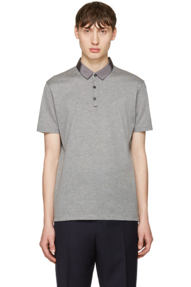 Lanvin - Grey Grosgrain Collar Polo