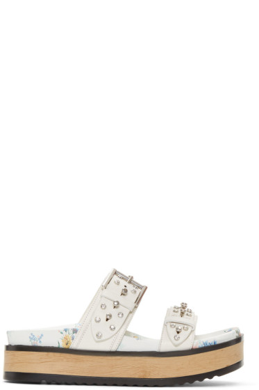 Alexander McQueen - White Studded Slide Sandals