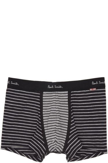Paul Smith - Black & Grey Striped Boxer Briefs