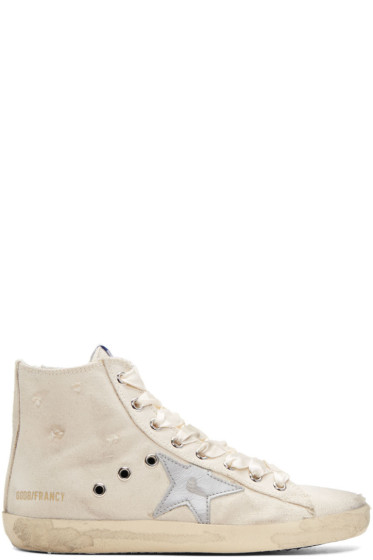 Golden Goose - Ivory & Silver Francy High-Top Sneakers