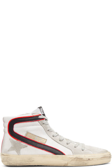 Golden Goose - White Mesh Slide High-Top Sneakers