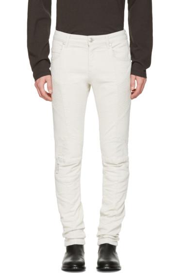 Pierre Balmain - Beige Biker Skinny Jeans