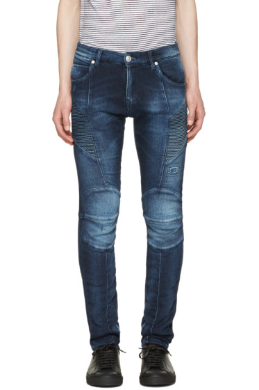 Pierre Balmain - Navy Biker Skinny Jeans