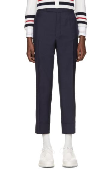 Thom Browne - Navy Classic Trompe l'Oeil Backstrap Trousers
