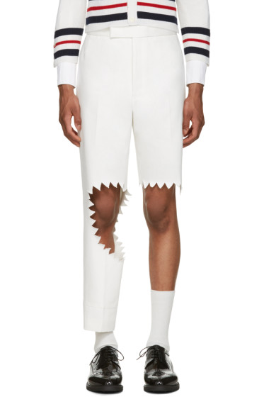 Thom Browne - White Denim Trompe L'Oeil Shark Bite Trousers
