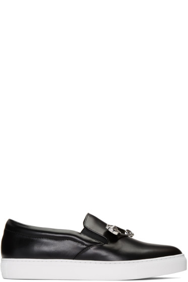 Versus - Black Safety Pin Slip-On Sneakers