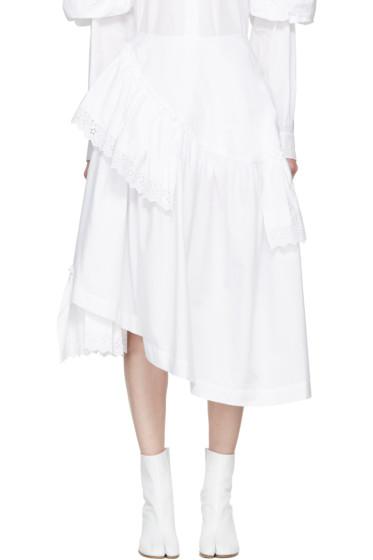 Simone Rocha - White Poplin & Broderie Anglaise Tiered Skirt